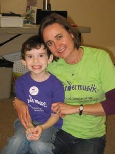 Barbara with Kindermusik student Matthew